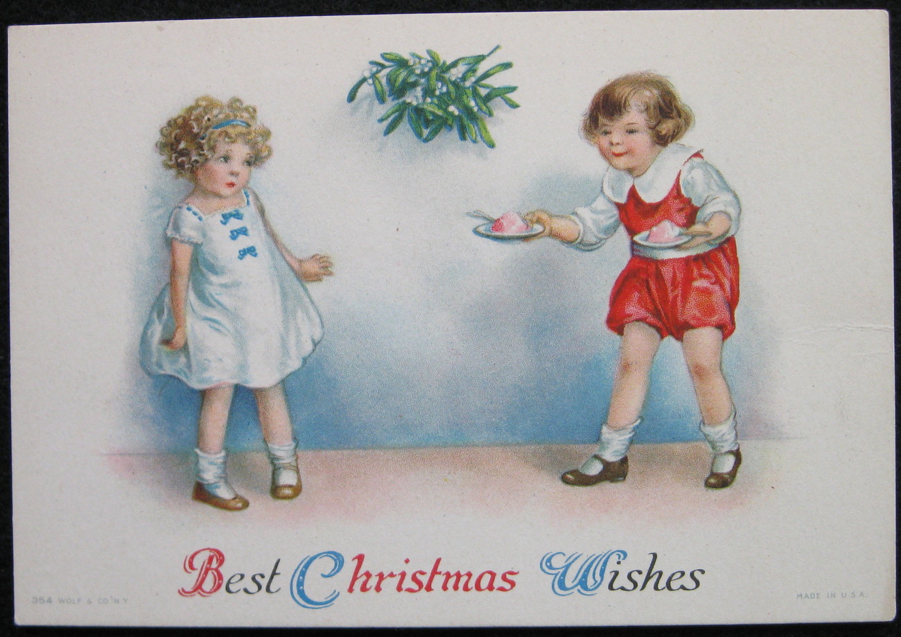 Primary image for Wolf & Co, Christmas Greeting Card, Best Christmas Wishes, Ellen Clapsaddle? Mis