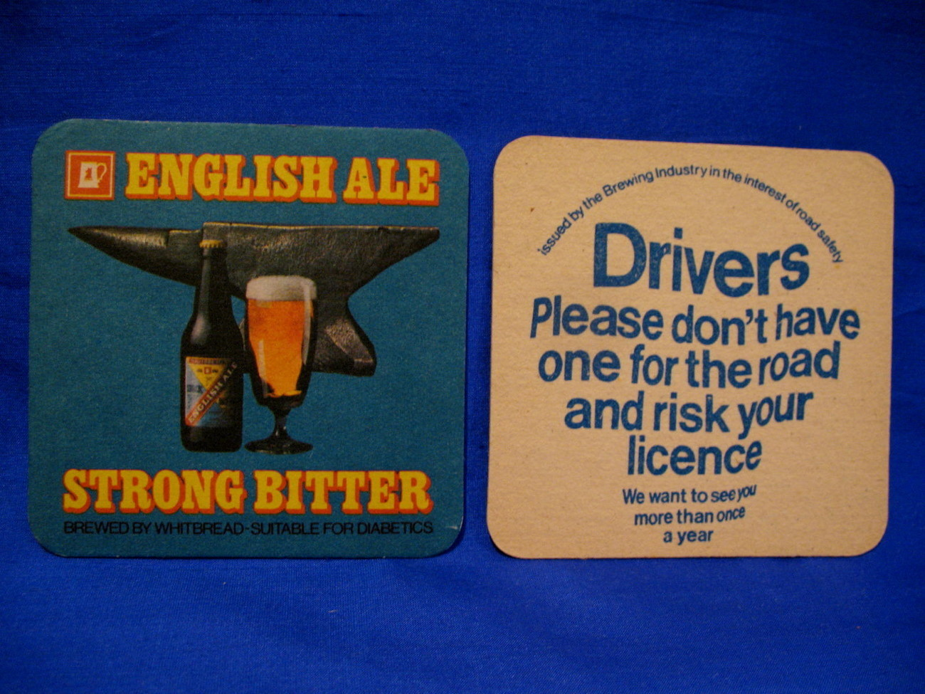 English Ale Whitbread Beer Coasters UK. Souvenir set of 2