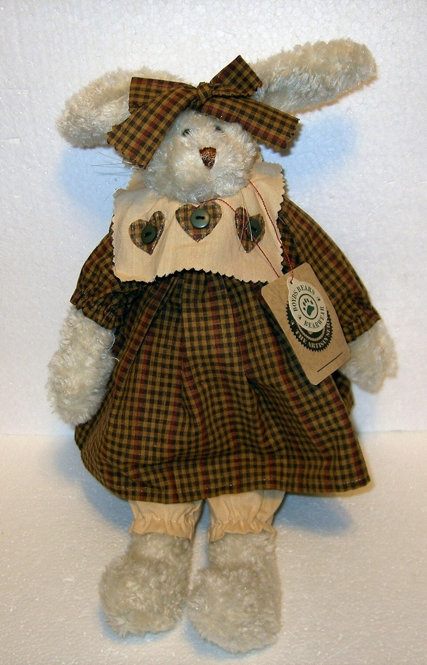 Boyds cream rabbit gingham dress artisan series bonanzle