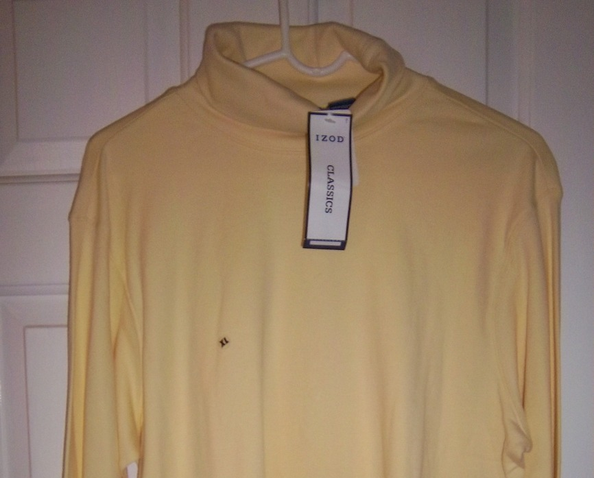 Primary image for IZOD Buttery Pale Yellow Turtle Neck Pullover Shirt, New with Tags Extra Lg size