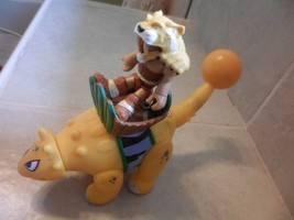 LITTLE TIKES YELLOW DINOSAUR. WITH A CAVEMAN RIDER SOUNDS - $4.99