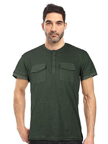 Seven Souls Men's Lightweight Slim Fit Henley Fashion T-Shirt (Medium, Olive)