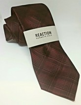 NEW Reaction Kenneth Cole Men's Classic Neck Tie Dressy Grid Burgundy/Black - $18.99