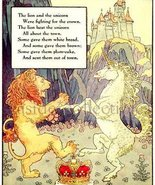 1930 MOTHER GOOSE NURSERY RHYME Book PRINT Unicorn and Lion Frederick Ri... - $9.99