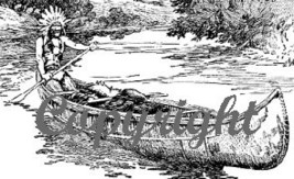 Native American In Canoe New Wood Mounted Rubber Stamp - $8.50