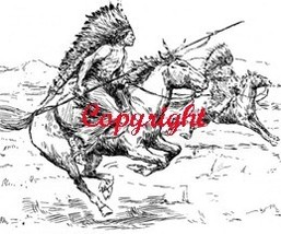 Indians On Warpath New Wood Mounted Rubber Stamp - $8.50