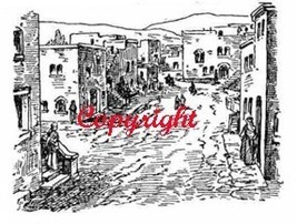 Old West Town New Wood Mounted Rubber Stamp - $8.50