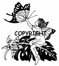 Fern Fairy Catching Butterfly New Mounted Rubber Stamp - $7.23