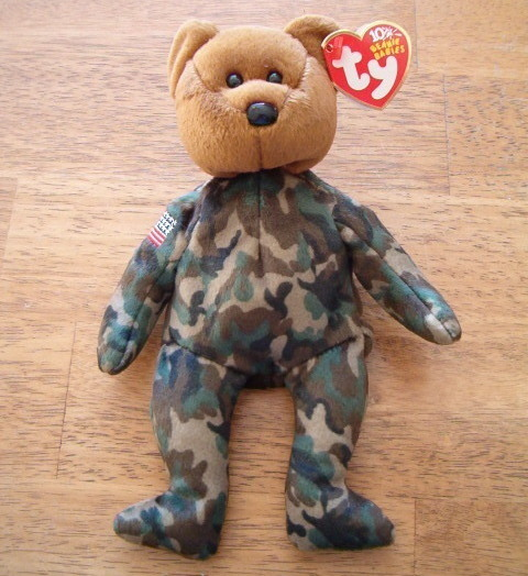 Ty Gulf War Hero Beanie Baby Bear 2003 Reversed Flag