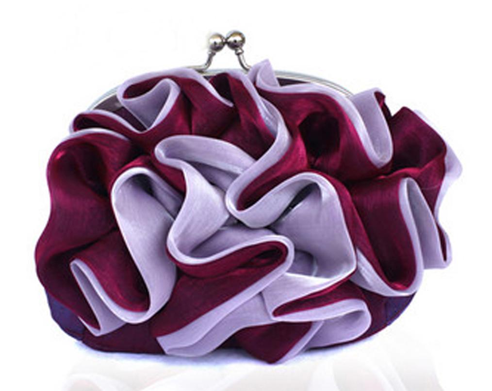 Clutch bag silk ruffle bloom burgundy