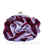 Romantic Ruffles Purple Burgundy Clutch Bag. Shimmering Silk. Small Purse - $70.90