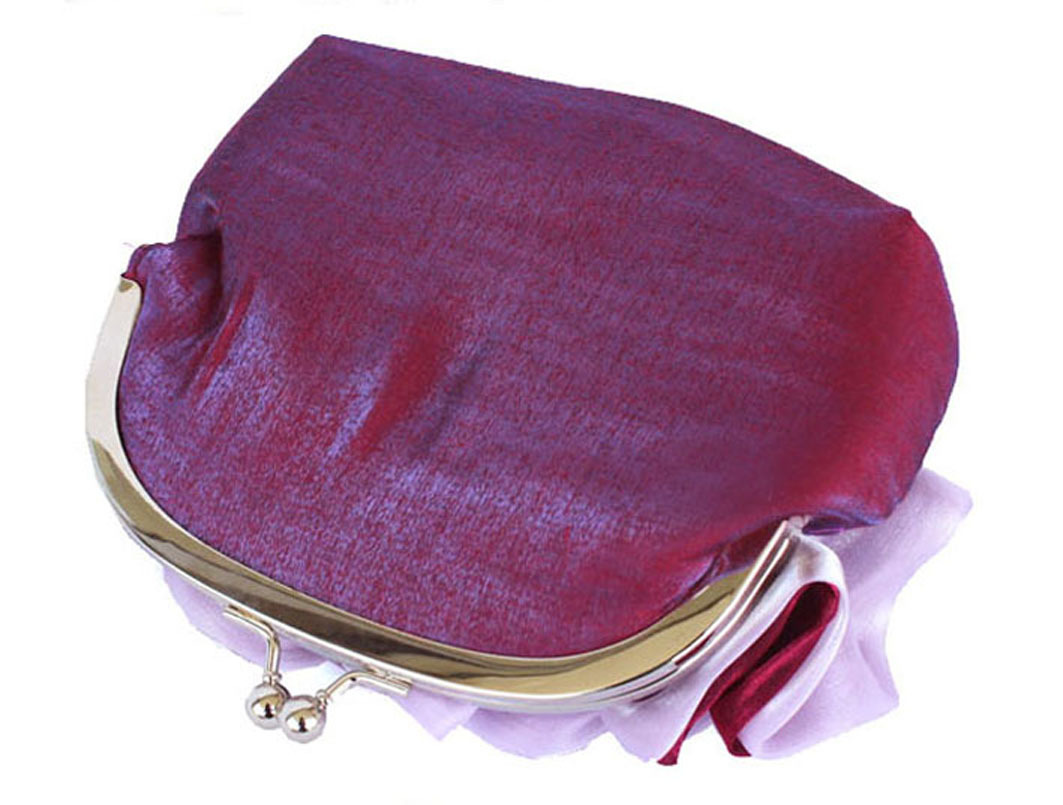 Romantic Ruffles Purple Burgundy Clutch Bag. Shimmering Silk. Small Purse