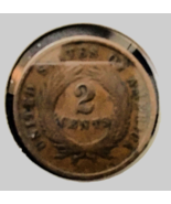 1865 Two Cent Coin, Graded Good to Very Good, Minted in the Year the Civ... - $68.00