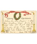Glazier Art vintage Christmas greeting postcard hand printed colored wre... - $8.00