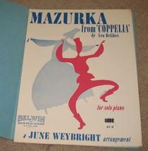 Mazurka  From 'Coppelia' for Solo Piano Sheet Music - $7.95