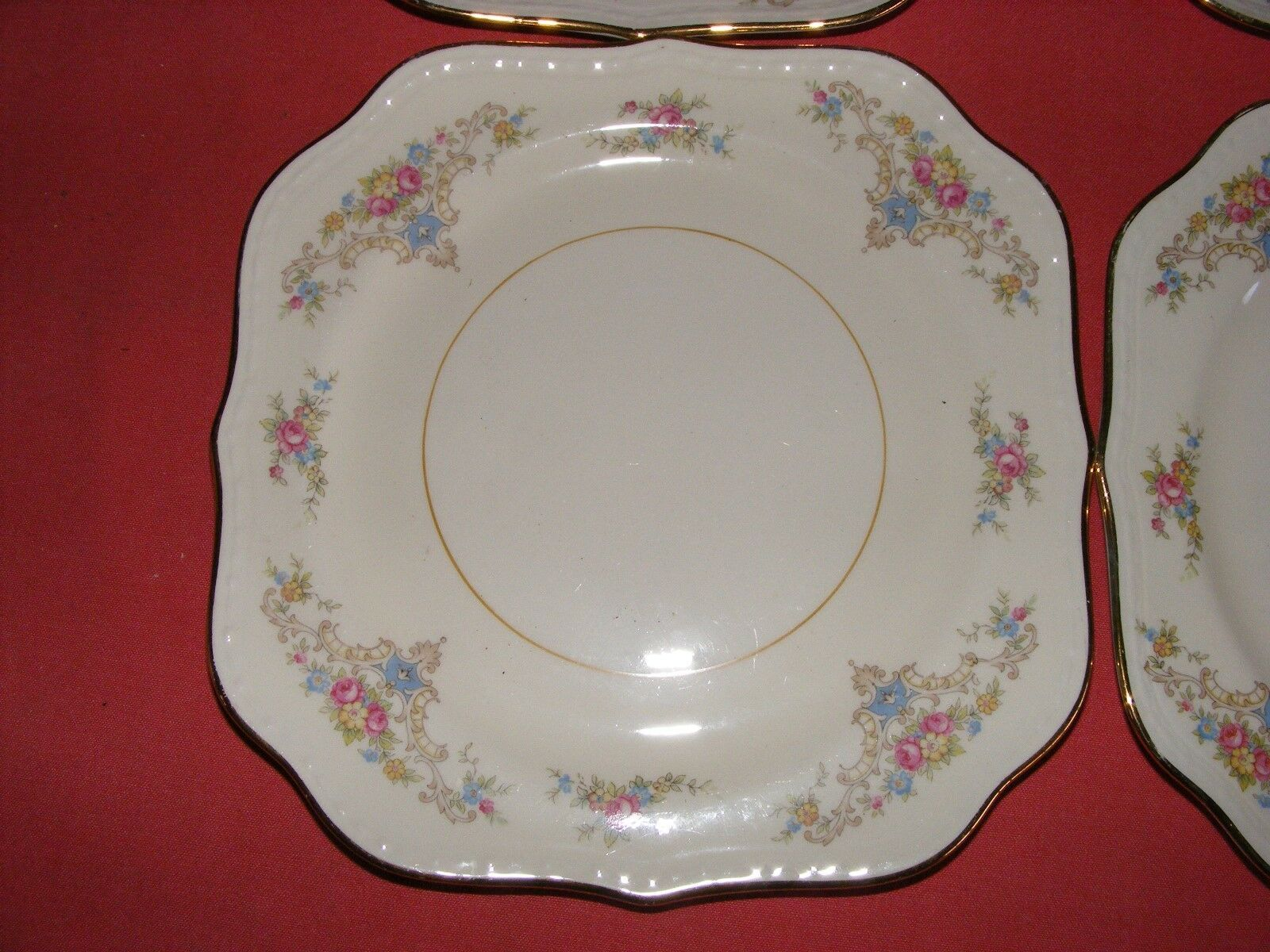 "4 Homer Laughlin Wedgwood 8"" Square Salad Plates Eggshell Georgian"