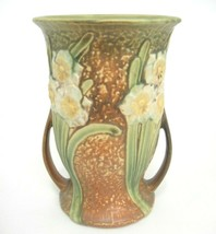 "Roseville Two Handled Jonquil Vase 7"" Flared Base Low Handles Paper Label - $329.18"