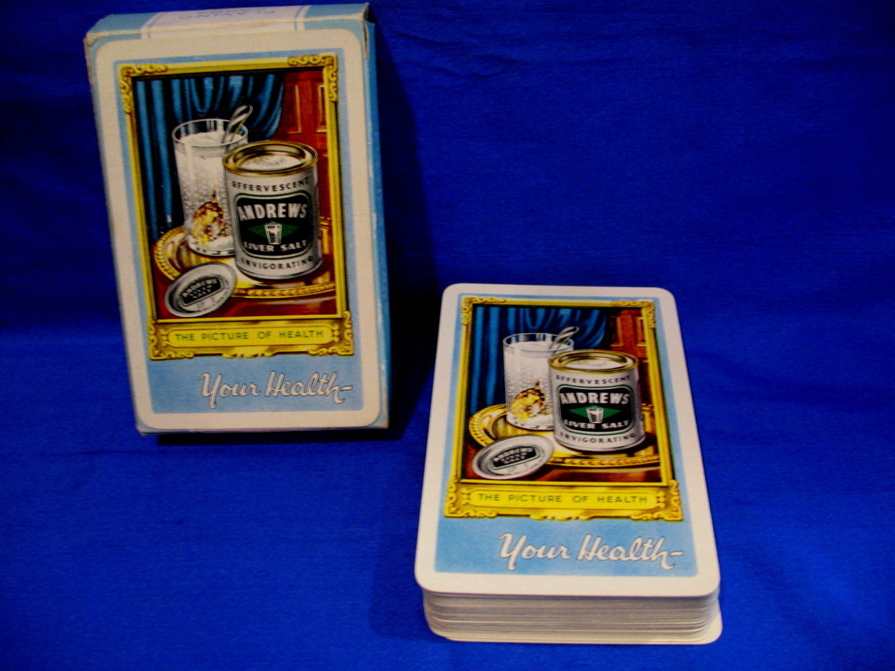 Primary image for Andrews Liver Salt Playing Cards Deck Souvenir Vintage Collectibles Blue Box