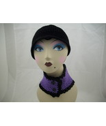 black flapper hat and neckwarmer - $15.00