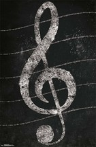 "New Treble Clef - Chalk Wall Poster - RP15348 - 22.375"" x 34"" - $7.99"