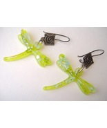 Lime Green Dragonfly Earrings Dichroic Fused Glass Handmade Dangle Pierced - $120.00