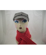 houndtooth cabby hat and keyhole scarf - $18.00