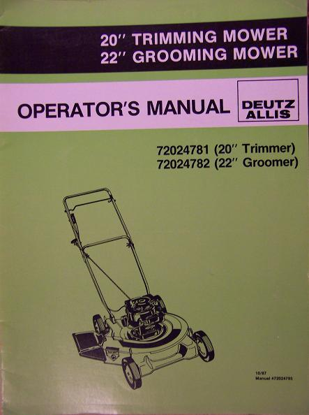 "Deutz-Allis 20"", 22"" Push Mowers Operator's Manual - 1987"