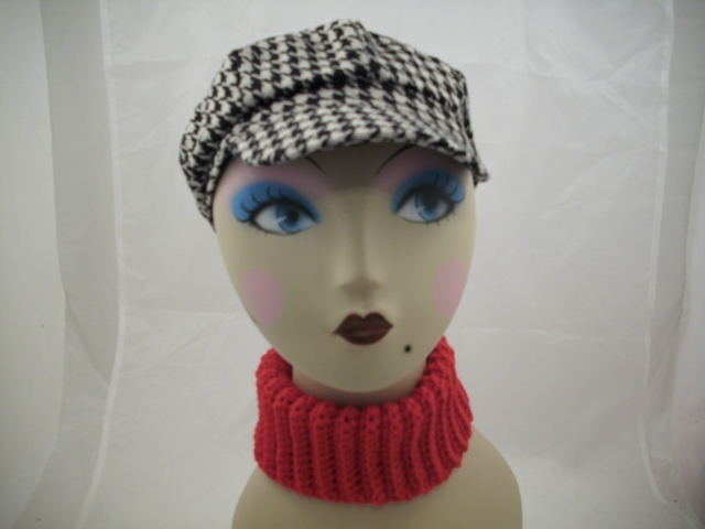 houndstooth cabby hat with neck warmer