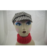 houndstooth cabby hat with neck warmer - $15.00