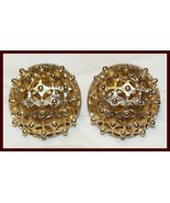 Vintage TRIFARI GOLDTONE FILIGREE CLIP ON EARRINGS UNUSUAL - $9.99