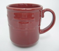 Longaberger Pottery Woven Traditions Paprika Burgundy Mug 12 oz Made in USA Exc - $12.86