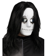 INDUSTRIAL SCARY HALLOWEEN MASK W/HAIR BLACK/WHITE - $13.95