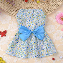 Floral Print  Dog Dress Summer Soft Cotton Bow Skirt  Clothes For Chihuahua - $5.54