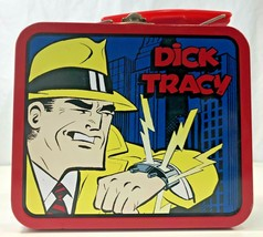 Vintage DICK TRACY Small Metal Tin Lunch Box Storage Carry Case Organize... - $12.86
