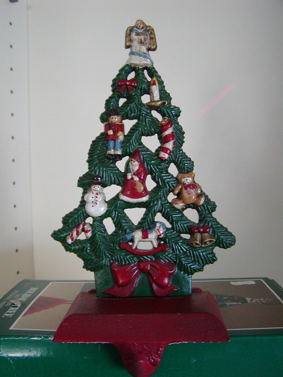 Vintage cast iron stocking hanger christmas tree stockings