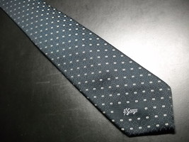Allyn St George Neck Tie Polyester Dark Blue Background With Repeating B... - $10.99