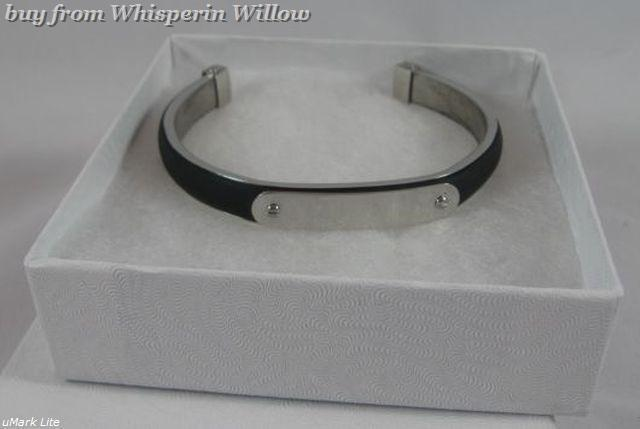 Stainless Steel and Black Rubber ID Cuff Bracelet