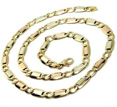 """18K YELLOW WHITE ROSE GOLD CHAIN 6 MM, 24"""" SQUARE FLAT ALTERNATE GOURMETTE LINKS image 4"""