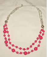 Pink Beaded Silver Choker Necklace - $9.99