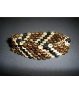 Wood Beaded Woven Stretch Bracelet brown tan black - $7.99