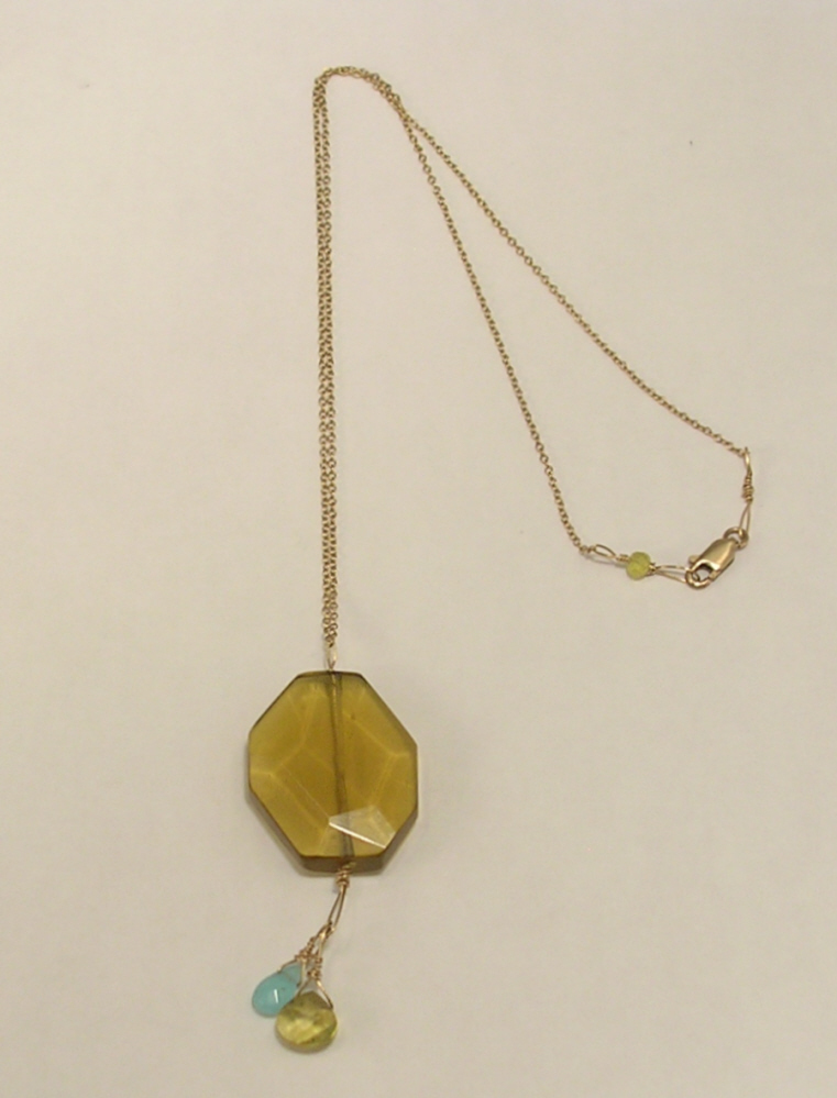 Yellow Pendant with Light Blue and Yellow Bead on Gold Color Chain 14K GF Clasp