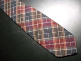Wembley Wemlon Mens Dress Neck Tie Polyester Brown Plaids - $11.99