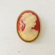 Vintage Jewelry CAMEO BROOCH PIN Pendant Carved Faux Shell - $18.70