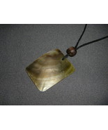 Natural Shell Pendant with Wood Bead on Adjustable Necklace - $9.50