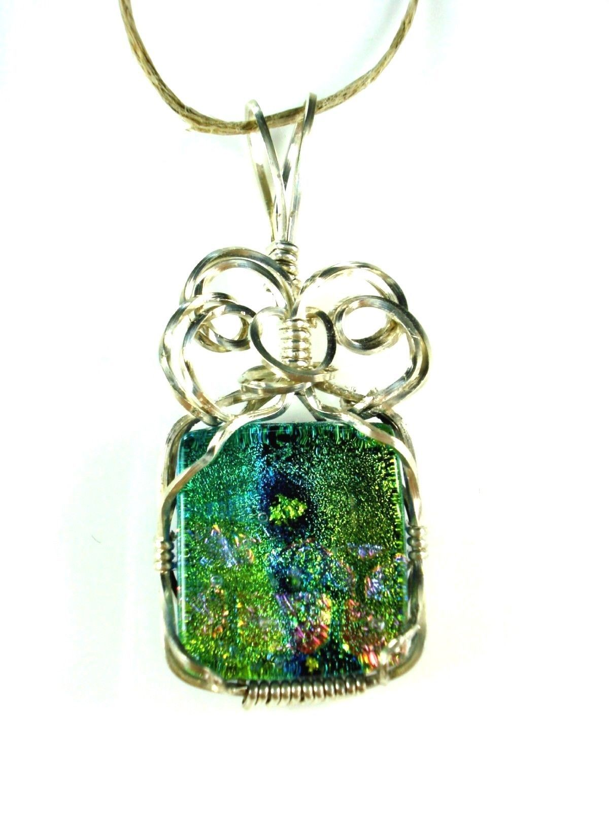 GREEN AQUA & PINK FUSED GLASS WIRE WRAP PENDANT SILVER WIRE WRAPPED