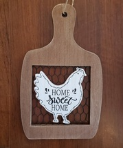 Rooster Wall Art, hanging wood sign, Home Sweet Home, wooden with chicken wire