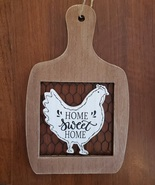 Rooster Wall Art, hanging wood sign, Home Sweet Home, wooden with chicken wire - $16.99