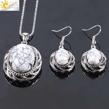 CSJA Natural Stone Bridal Party Jewelry Set for Women Dangle Earrings Necklaces  - $13.56