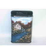 Hand Painted Fall Mill in Oils Vintage Prince Albert Can Vintage Collect... - $34.00