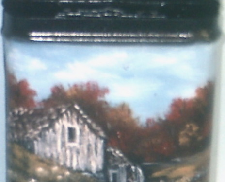 Hand Painted Fall Mill in Oils Vintage Prince Albert Can Vintage Collectible Art
